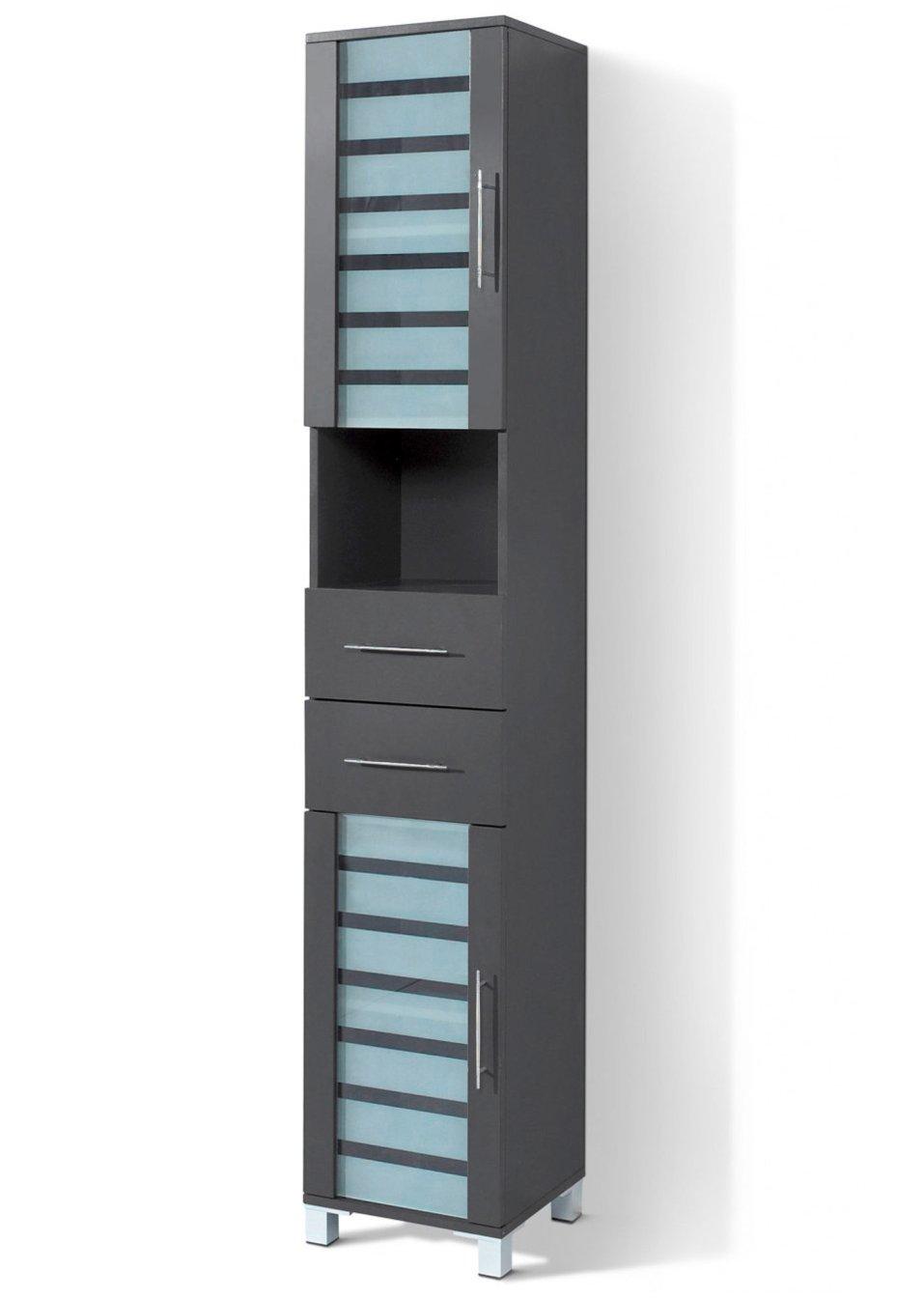 f r mehr ordnung im bad sorgt der schmale hochschrank ted anthrazit schmal. Black Bedroom Furniture Sets. Home Design Ideas