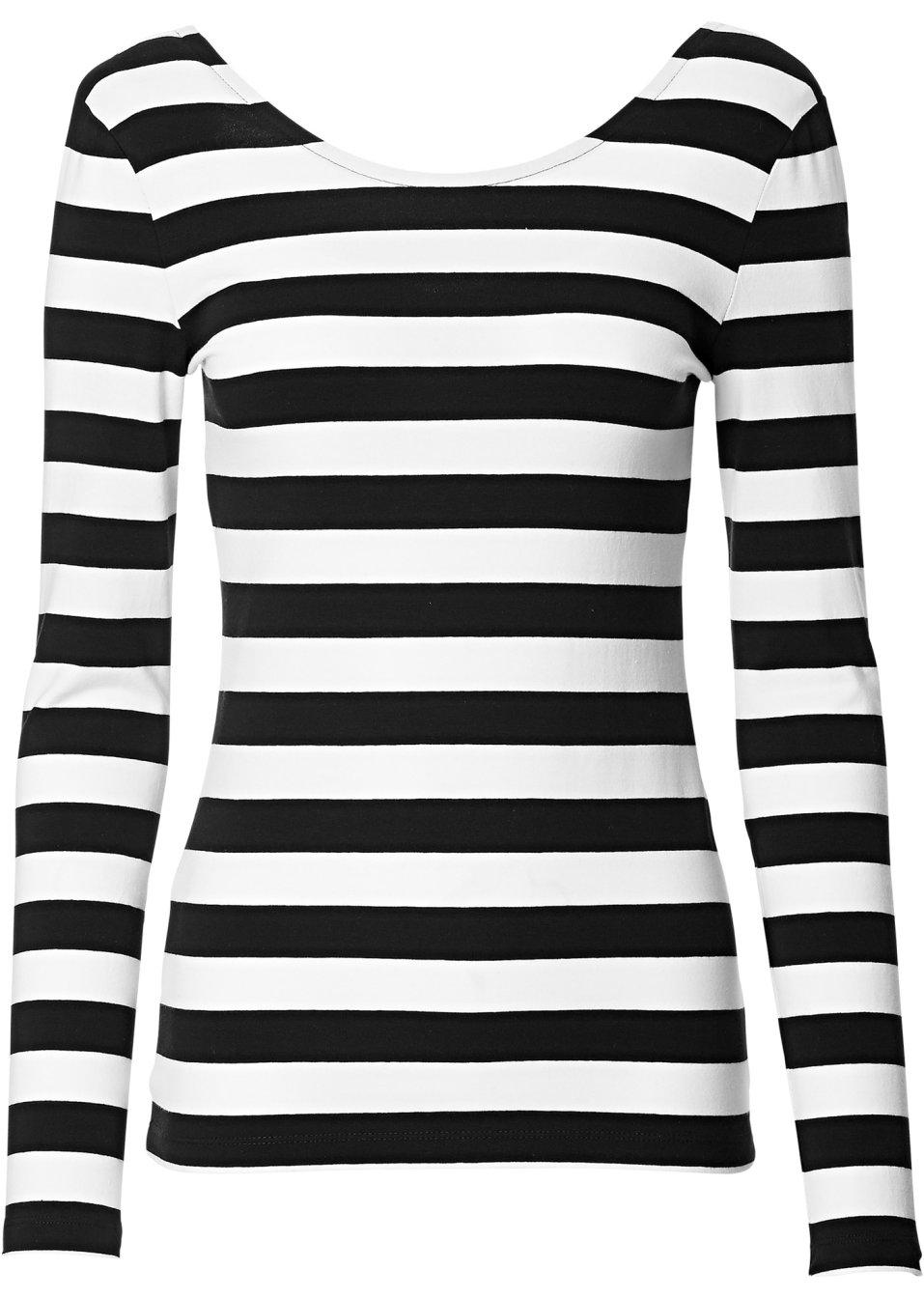 modisches shirt mit r ckenausschnitt schwarz weiss gestreift. Black Bedroom Furniture Sets. Home Design Ideas