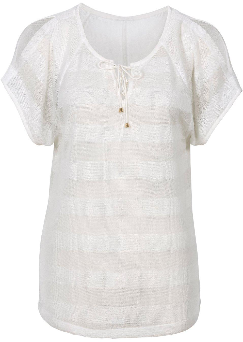 leicht transparentes shirt mit schn rung und raglan rmeln wollweiss. Black Bedroom Furniture Sets. Home Design Ideas