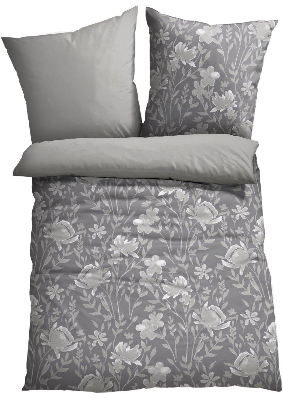 sch n bedruckte bettw sche blume zum wenden grau jersey. Black Bedroom Furniture Sets. Home Design Ideas