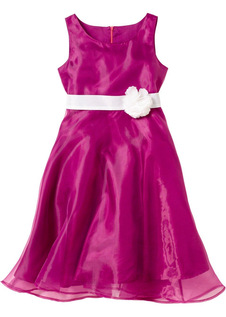 Festliches kleid mit fixierter blume violett wollweiss - Festliche kleider bonprix ...