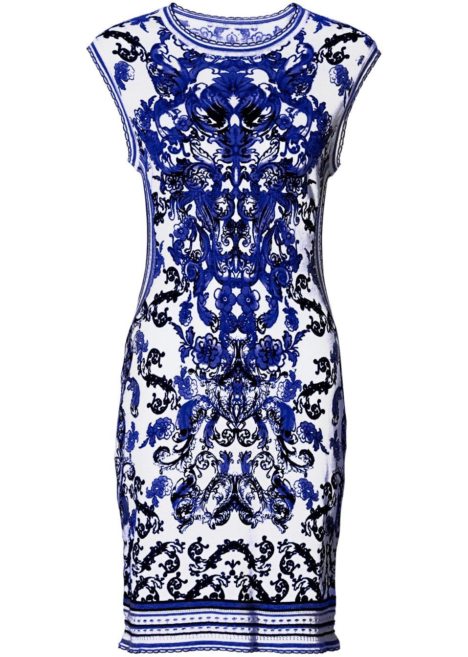 anziehendes kleid mit modischem ornament druck weiss blau. Black Bedroom Furniture Sets. Home Design Ideas