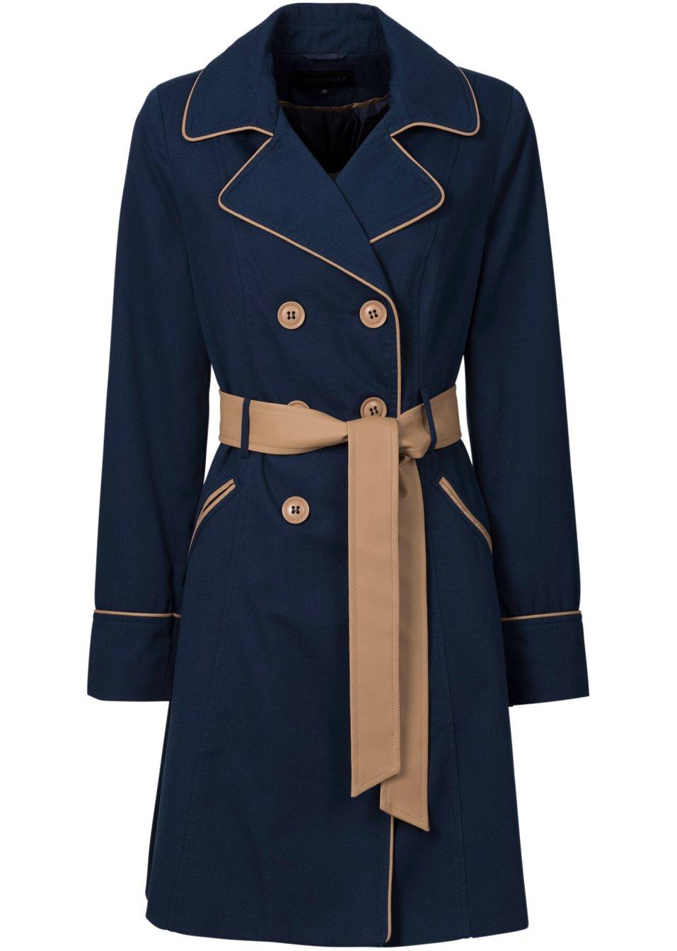 eleganter trenchcoat mit farbkontrasten dunkelblau. Black Bedroom Furniture Sets. Home Design Ideas