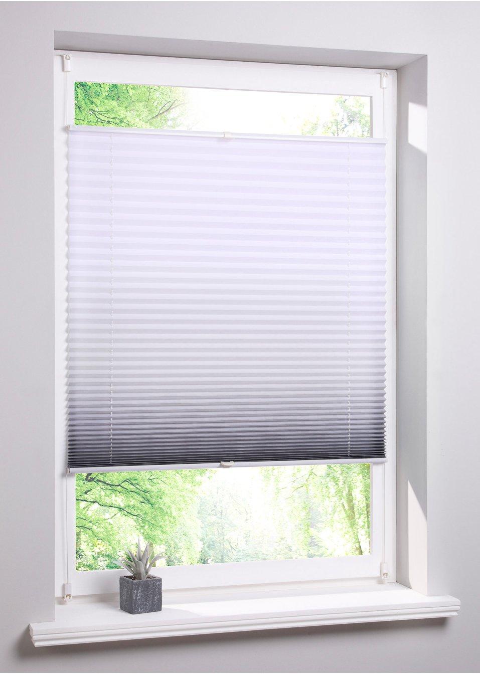 moderner sichtschutz das plissee verlauf in vielen farben grau klemmtr ger. Black Bedroom Furniture Sets. Home Design Ideas