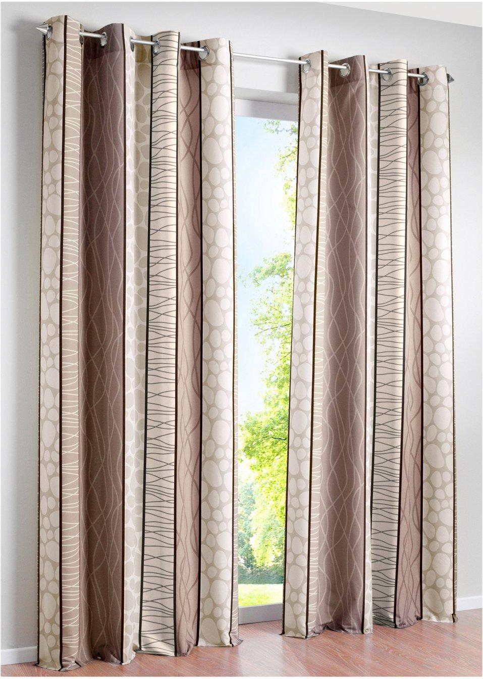 sch nes und zeitloses design mit dem bedruckten vorhang estelle taupe sen 1er pack. Black Bedroom Furniture Sets. Home Design Ideas