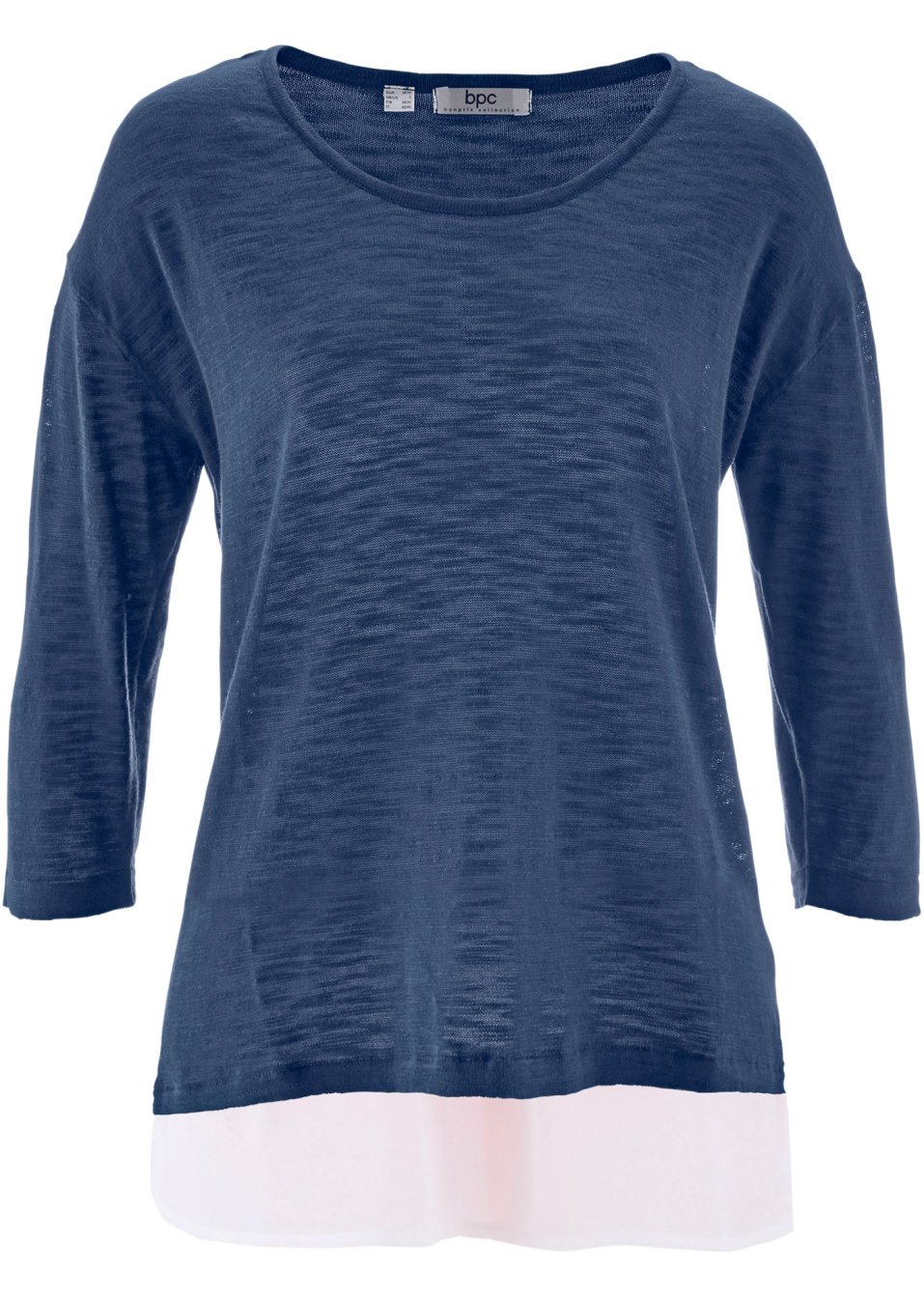 ansprechender flammgarn pullover mit bluseneinsatz indigo. Black Bedroom Furniture Sets. Home Design Ideas