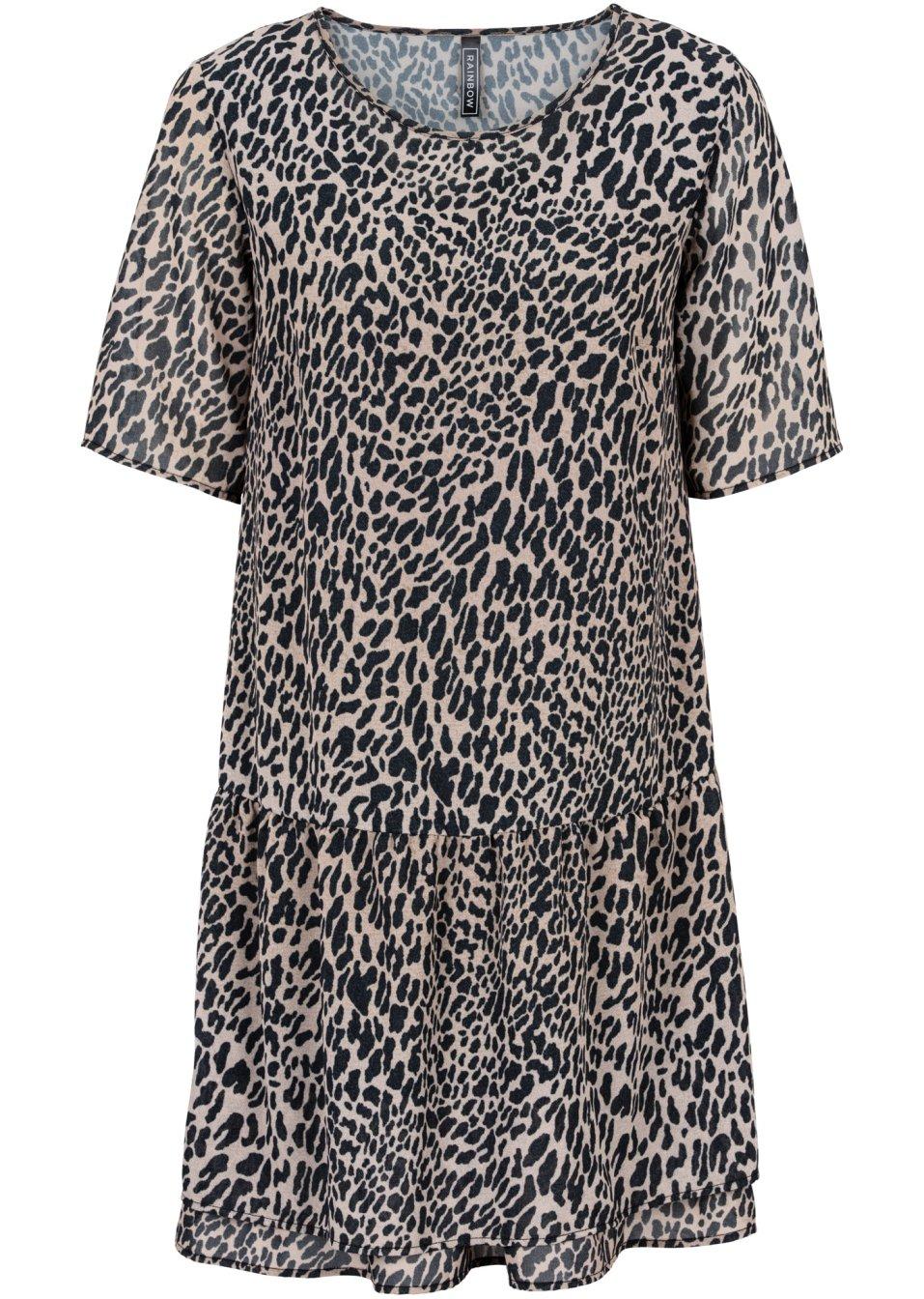 kleid im leo look leopard schwarz braun online kaufen. Black Bedroom Furniture Sets. Home Design Ideas