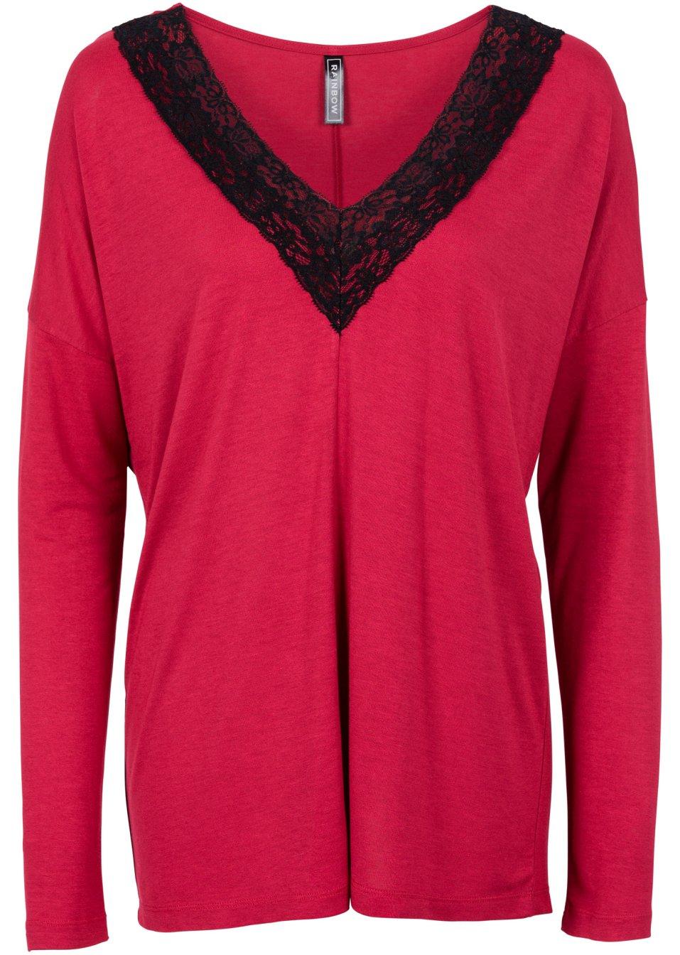 langarmshirt mit spitze oversized rot schwarz online. Black Bedroom Furniture Sets. Home Design Ideas