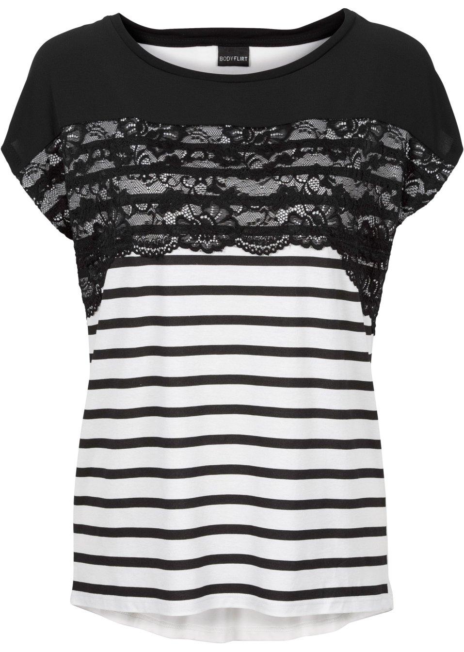 feminines shirt mit spitze und kurzen rmeln schwarz. Black Bedroom Furniture Sets. Home Design Ideas