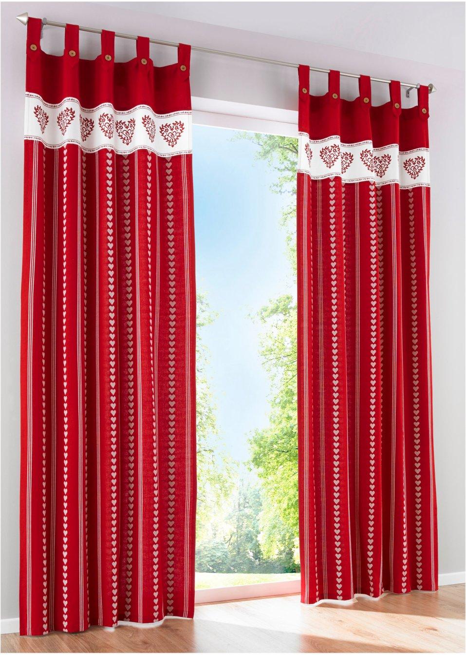 Vorhang mia 1er pack rot wohnen bpc living for Bonprix vorhang