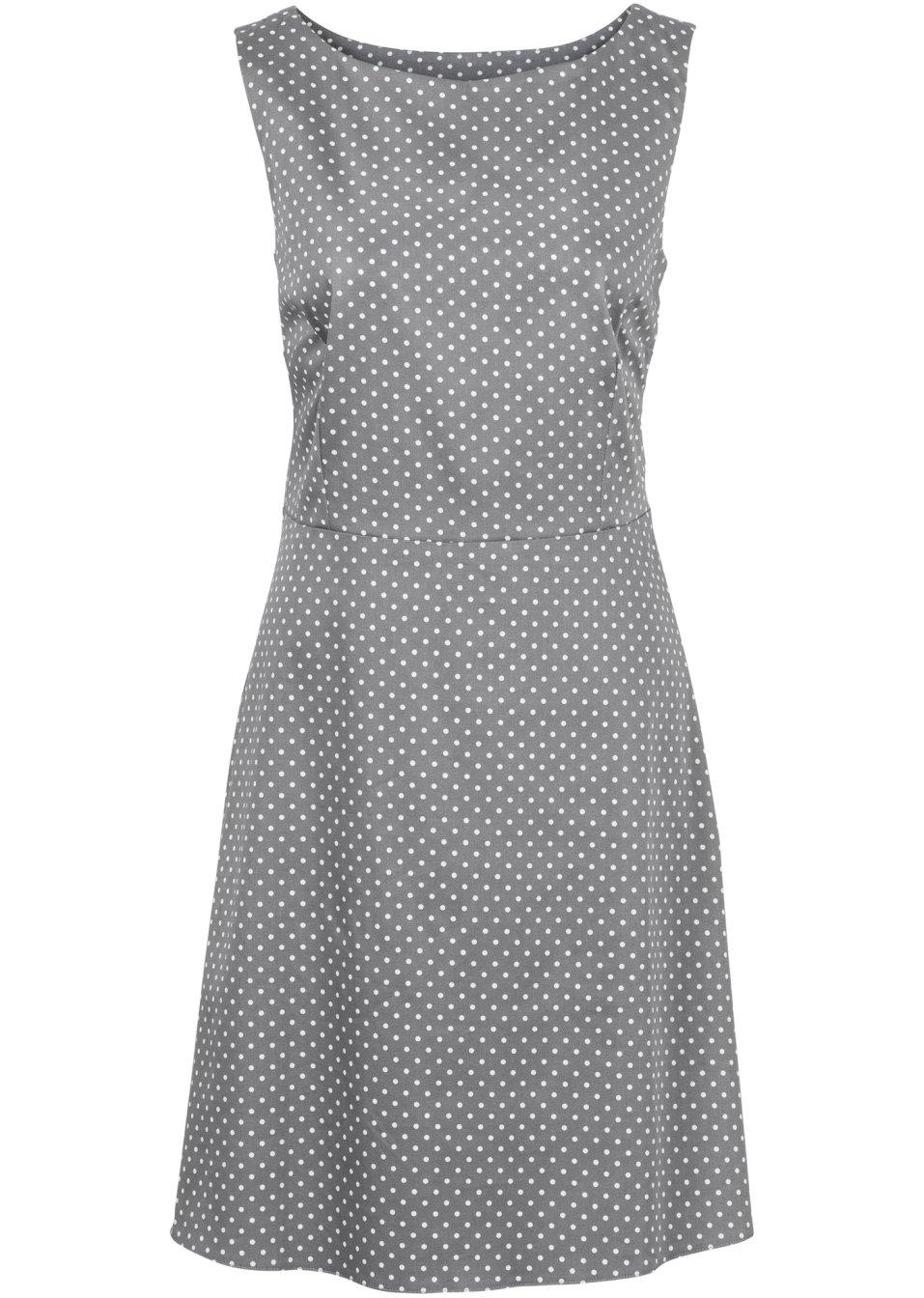 Kleid grau/weiss gepunktet - Damen - bonprix.ch