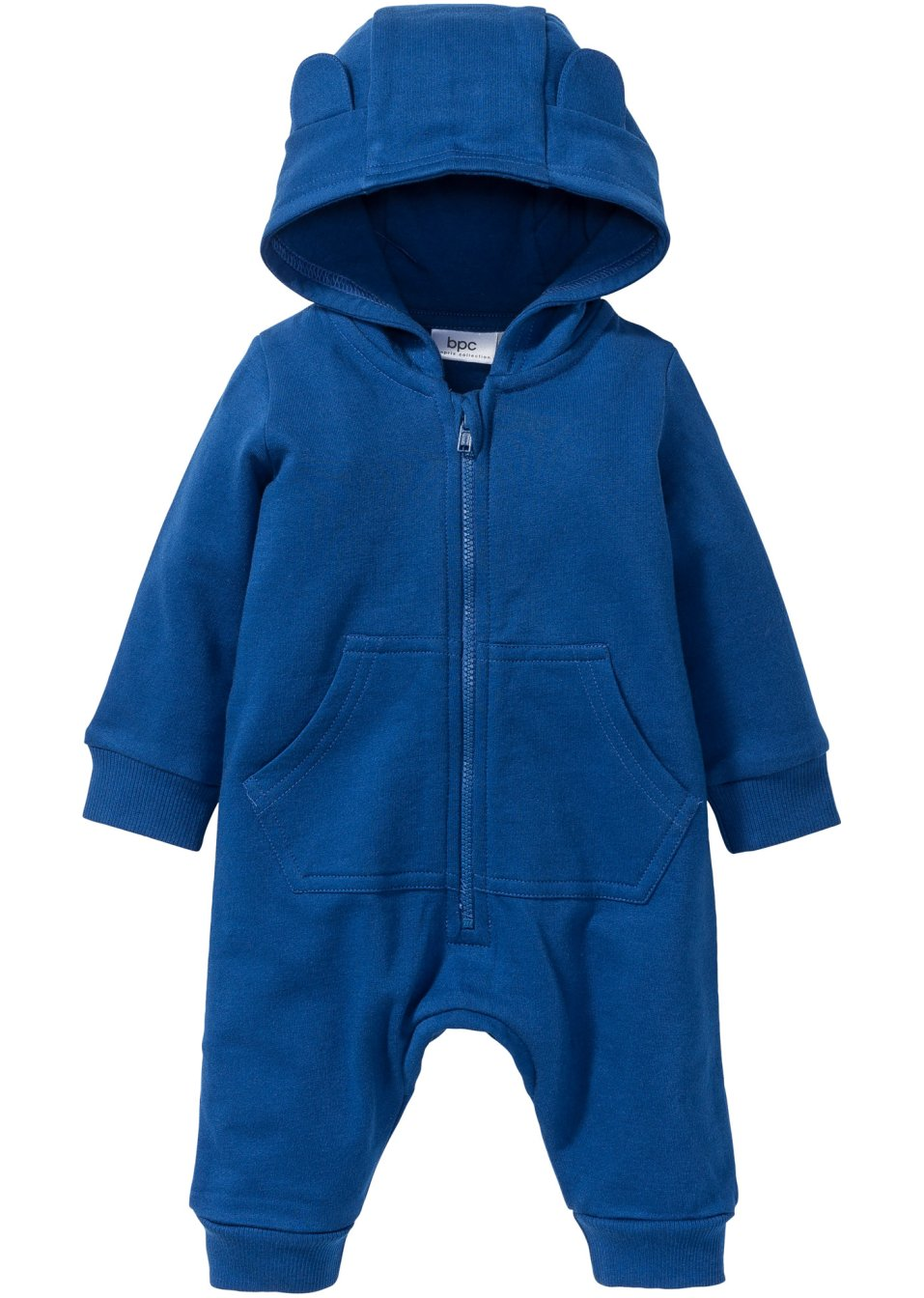 baby sweat overall mit kapuze bio baumwolle enzianblau. Black Bedroom Furniture Sets. Home Design Ideas