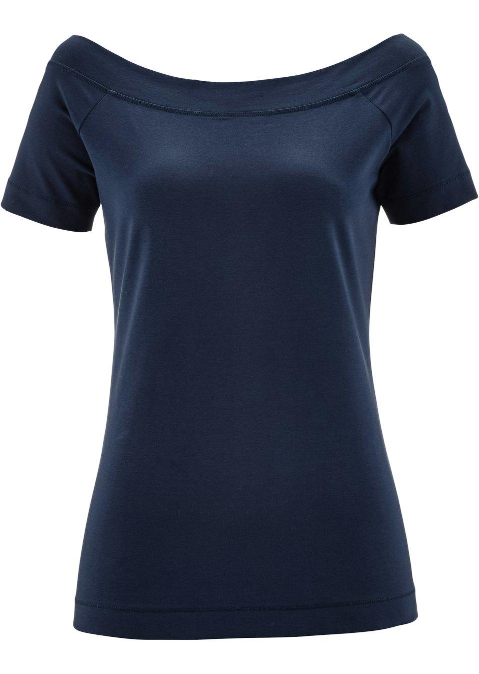 legeres shirt mit u boot ausschnitt dunkelblau. Black Bedroom Furniture Sets. Home Design Ideas