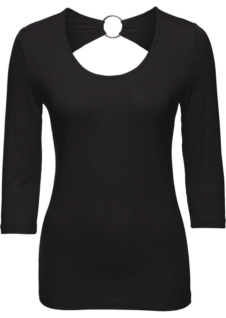 raffiniert geschnittenes shirt mit interessanter r ckenl sung schwarz. Black Bedroom Furniture Sets. Home Design Ideas