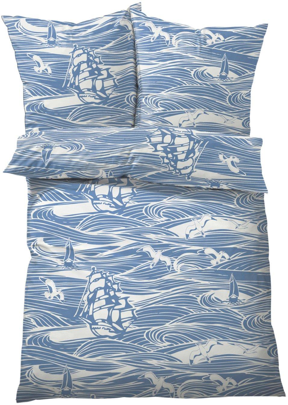 maritimer blickfang die bettw sche maritim blau linon. Black Bedroom Furniture Sets. Home Design Ideas