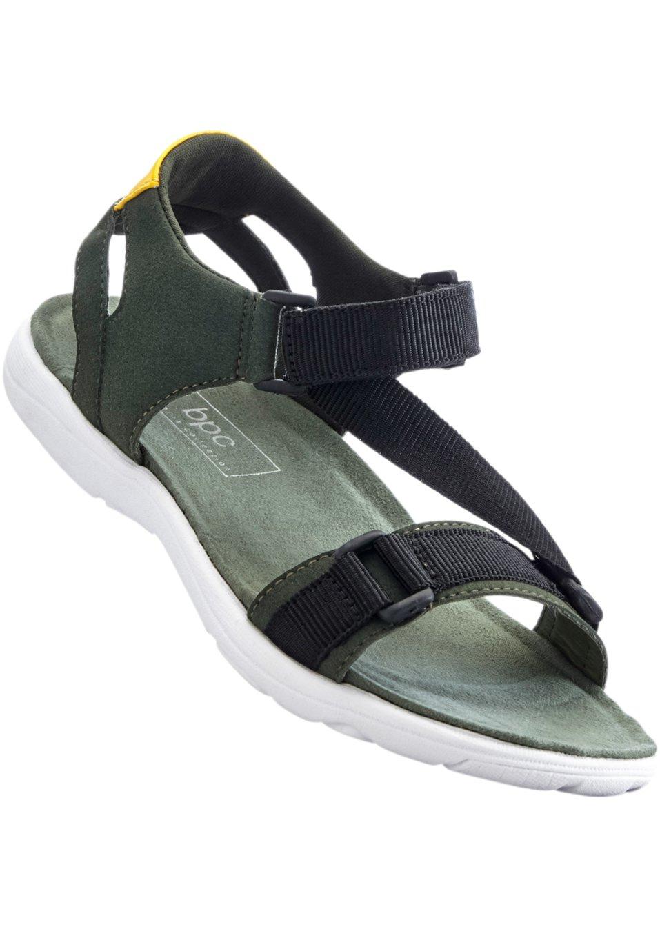 sportliche sandale mit klettverschluss oliv gelb schwarz. Black Bedroom Furniture Sets. Home Design Ideas