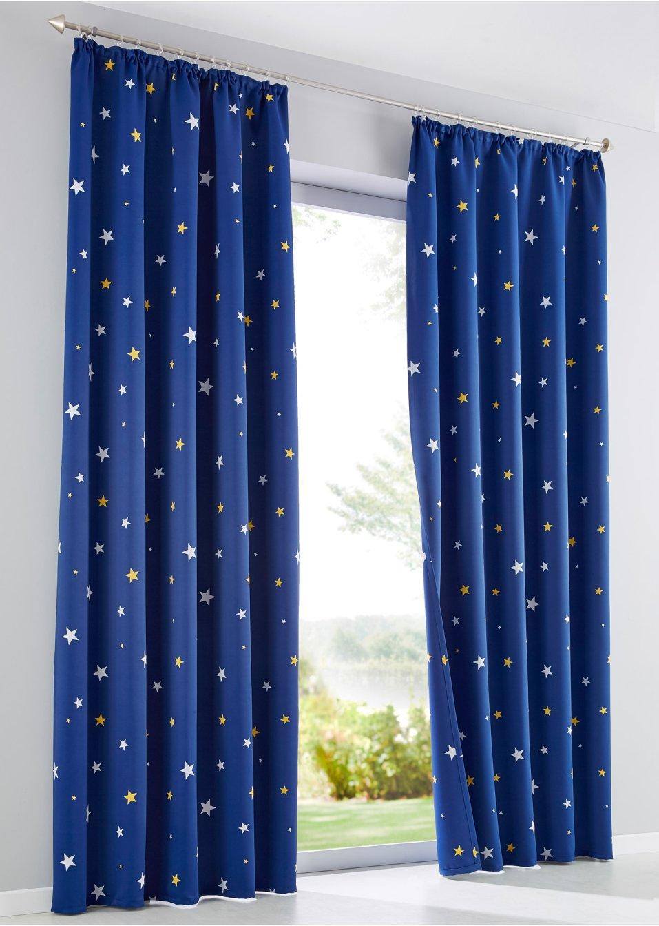 verdunkelungsvorhang beidseitig sterne 1er pack nachtblau wohnen. Black Bedroom Furniture Sets. Home Design Ideas