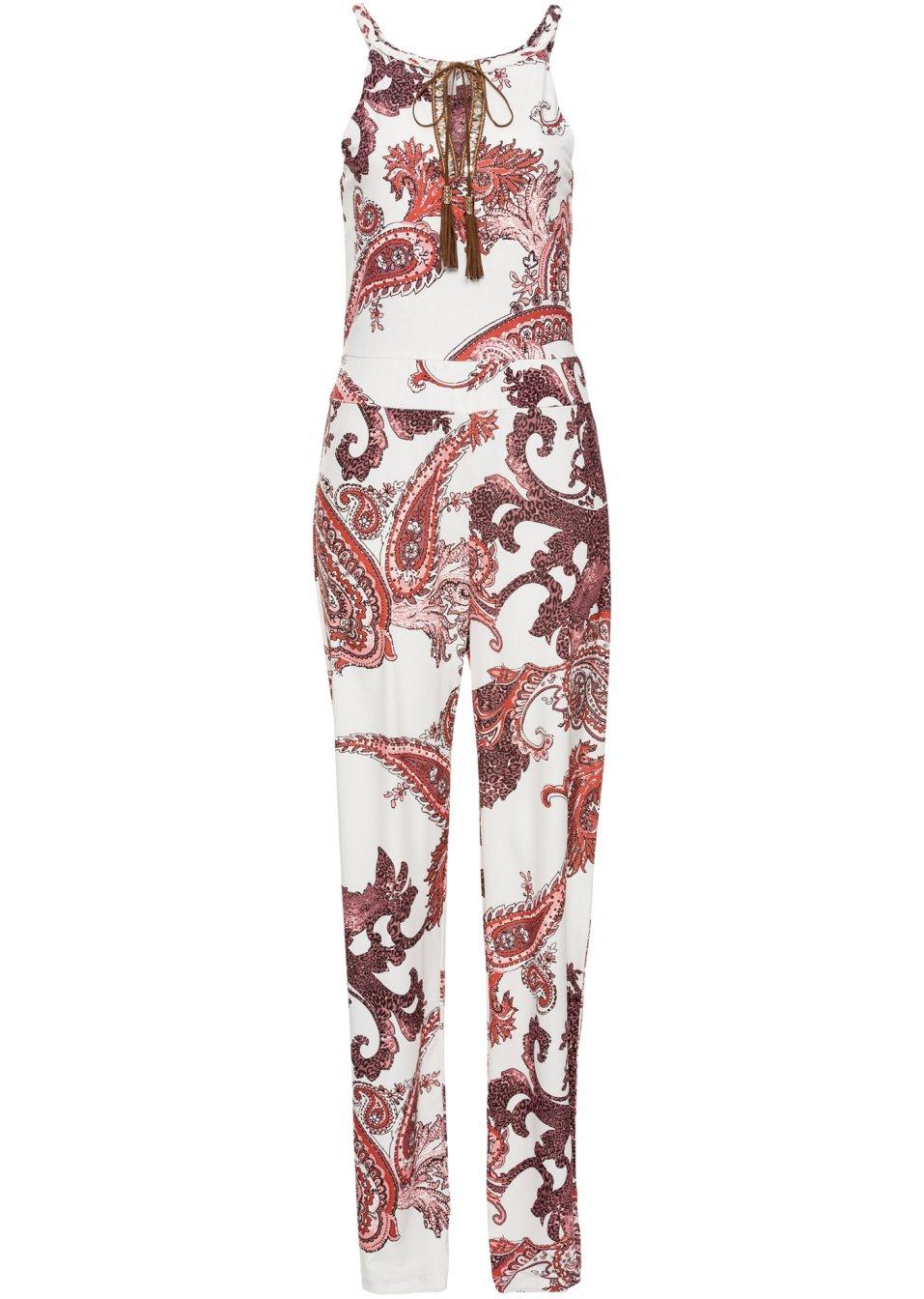 femininer overall mit schn rung und allover druck rot gemustert. Black Bedroom Furniture Sets. Home Design Ideas