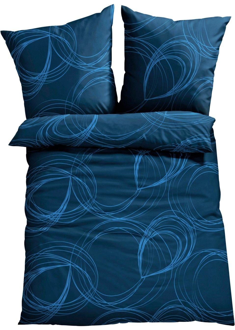 eleganz im schlafzimmer die bettw sche gabo mit grafischen motiven blau polycotton. Black Bedroom Furniture Sets. Home Design Ideas