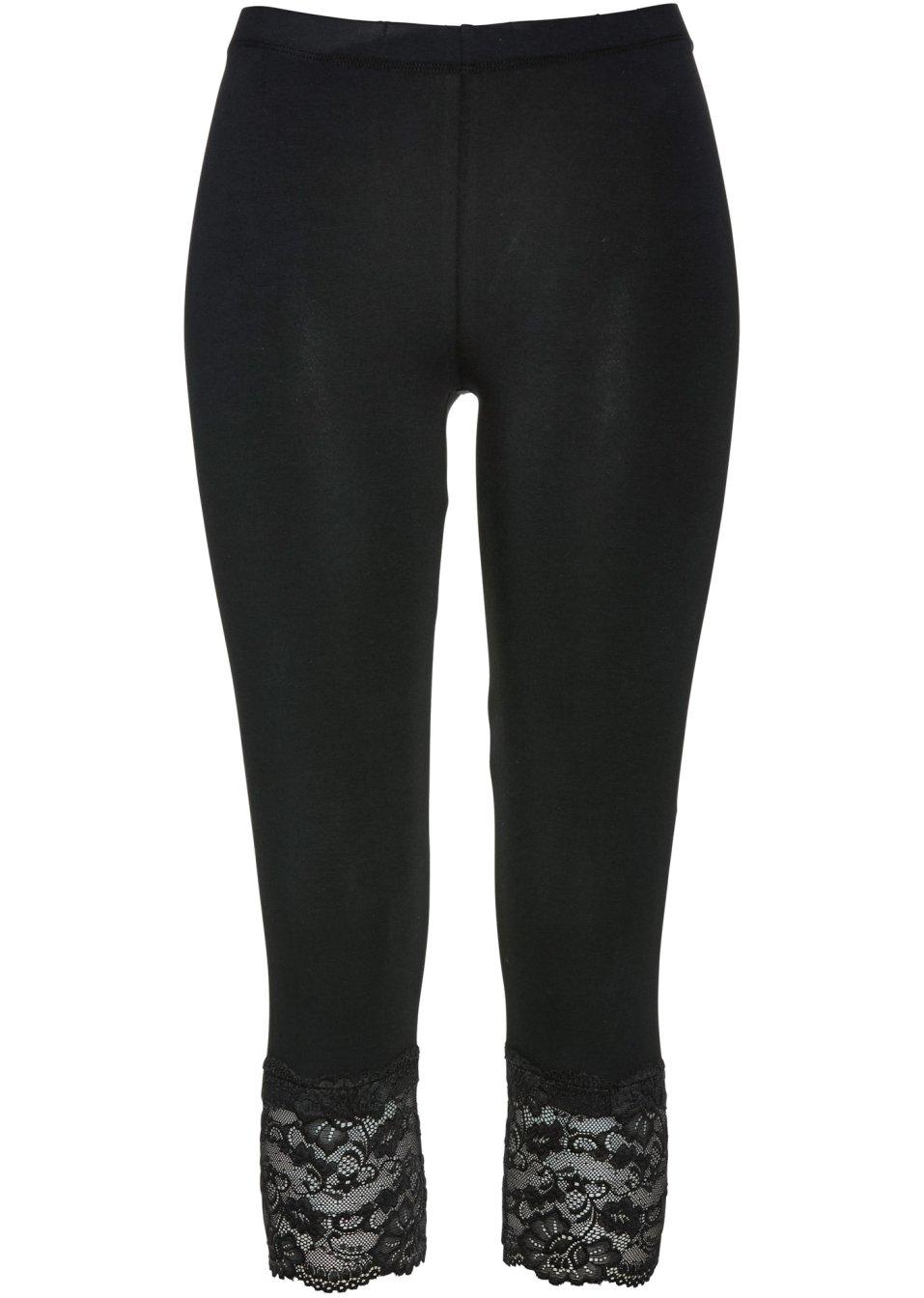 3 4 leggings mit spitze und gummibund schwarz. Black Bedroom Furniture Sets. Home Design Ideas