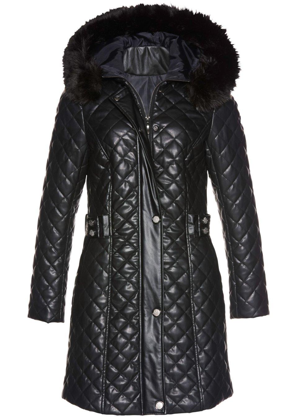 schicker mantel mit besatz aus fellimitat schwarz. Black Bedroom Furniture Sets. Home Design Ideas