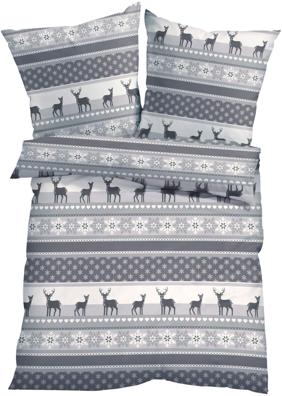 winterlich gem tlich ist die bettw sche noel im nordischen design grau linon. Black Bedroom Furniture Sets. Home Design Ideas